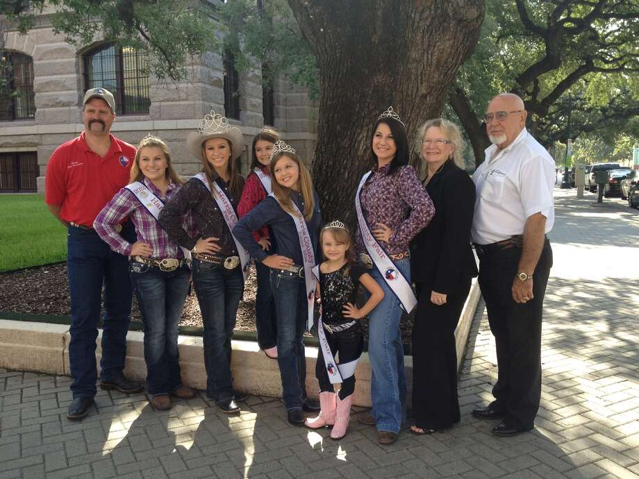The Harris County Fair will be Sept. 5-8 at the Houston Farm and Ranch Club.  Key people involved with the county fair include, from left: Alan Higginbotham, fair chairman; Amber Cook, Sweetheart; Hannah Henry, Queen; Hannah Sizenbach, Little Miss; Emma Conn, Junior Miss; Cylee Jones, Tiny Miss; Kristina Hobbs, Miss Photogenic; Cheryl Thompson-Draper, pageant director, and James Lockhart, president of the Houston Farm and Ranch Club, the sponsoring organization for the fair. Visit http://www.hcfair.com/.