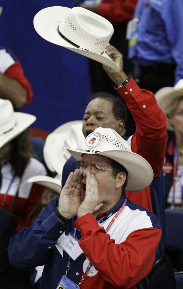 Read King, foreground, delegate from the state of Texas, yells during the presentation of the rules at the Republican National Convention in Tampa, Fla., on Tuesday, Aug. 28, 2012. (AP Photo/Charlie Neibergall) (Charlie Neibergall / Associated Press)