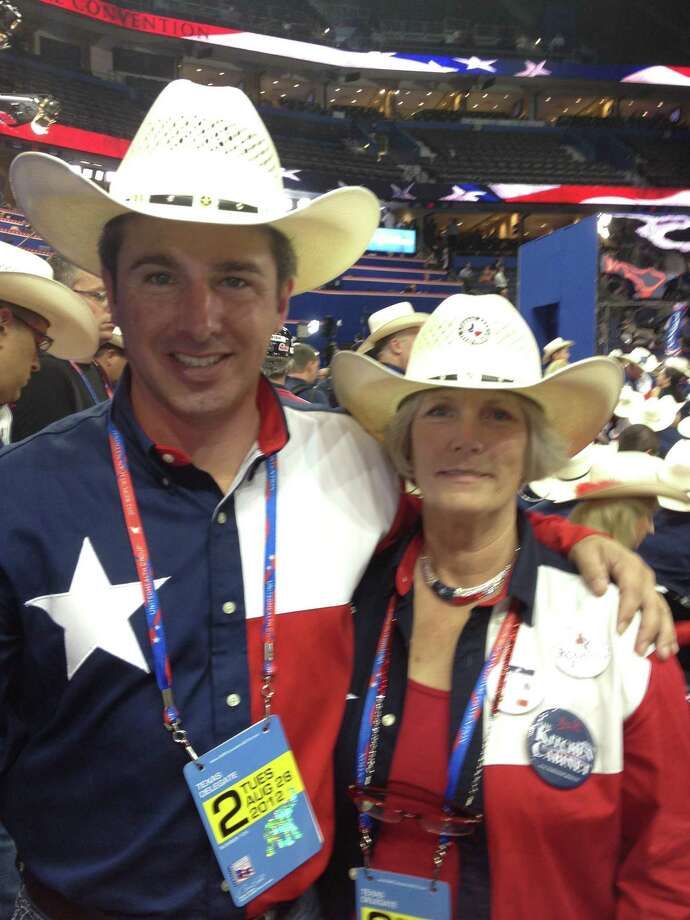 J. Shane Howard and Vita Swarers, Southeast Texas delegates to the Republican National Convention, are on the convention floor in Tampa, Fla. Photo: Courtesy Photo