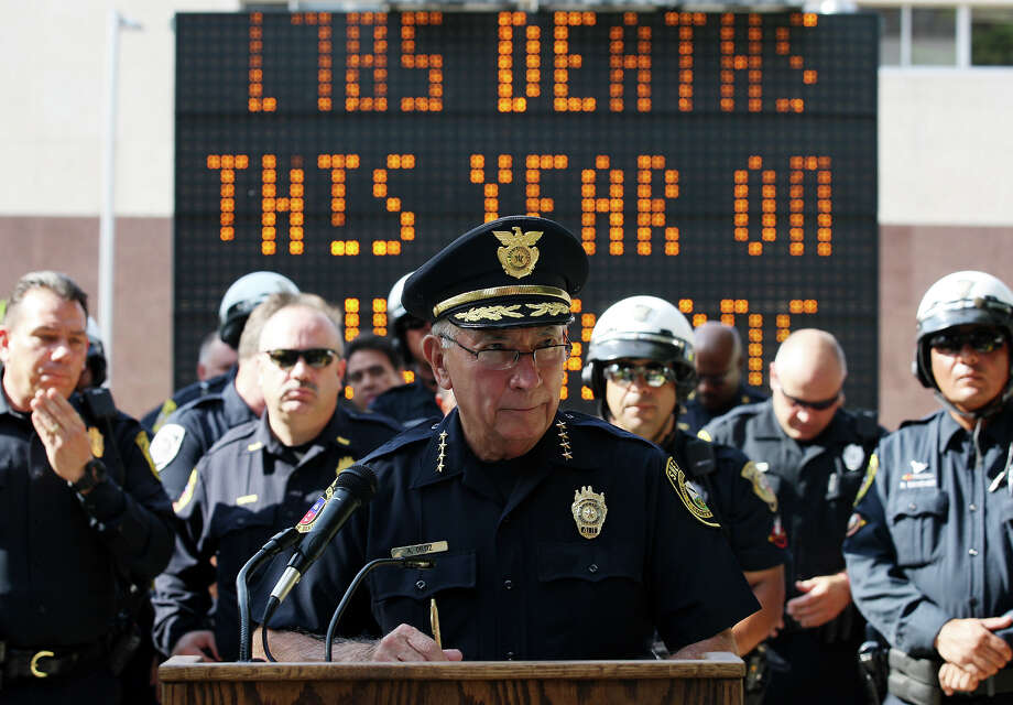 Bexar County Sheriff Amadeo Ortiz, in picture, and San Antonio Police Chief William McManus hold a press conference on Tuesday, Aug. 27, 2012 announcing an increase of law enforcement patrol over the Labor Day Weekend. The aim is to reduce vehicular accidents and injuries due to excessive speed or alcohol use. Photo: Jerry Lara, San Antonio Express-News / © 2012 San Antonio Express-News