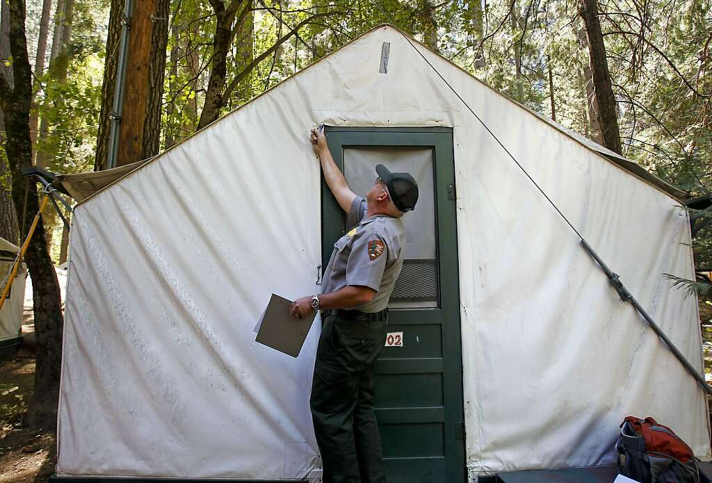 Glenn Dean a National Parks Occupational Safety and Health Specialist inspects tent cabins for mice & Yosemite disease warning for 1700 - SFGate