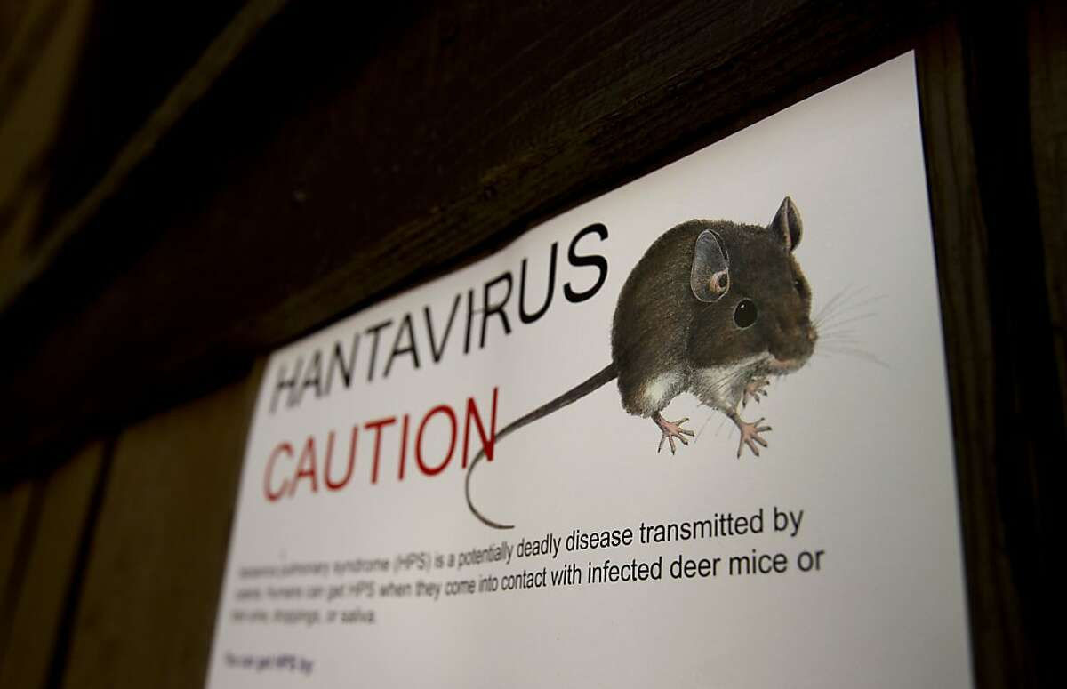 Warning signs for the hantavirus, are posted throughout Curry Village at Yosemite National Park, Calif, on Tuesday August 28, 2012. Four people have been infected with the hantavirus, two of which have died while staying at the Curry Village tent cabins at Yosemite National Park in California.
