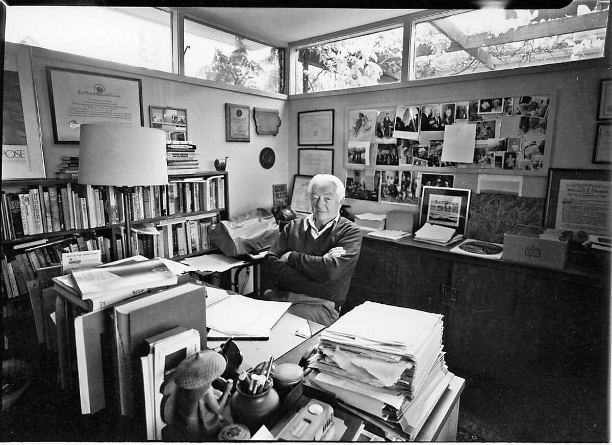 Wallace Stegner in his writing studio in 1982, copyright Leo Holub, courtesy the Estate of Leo Holub. Son Eric Holub grants permission to run with Catching Up on Lynn Stegner and teardown of Stegner studio.