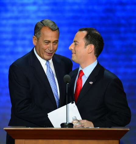 Reince Priebus, RNC Chairman, greets Speaker of the House John Boehner during the second session at the 2012 Republican National Convention at the Tampa Bay Times Forum in Tampa, Tuesday, August 28, 2012. (Harry E. Walker/MCT) (Harry E. Walker / McClatchy-Tribune News Service)