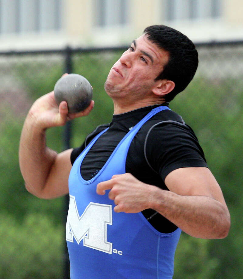 MacArthur's Jace Amaro competes in the Shot Put during the Region IV Track and Field meet Monday May 2, 2011 at Alamo Stadium. Amaro finished in first place with a throw of 61 feet 7 inches. Photo: EDWARD A. ORNELAS, Express-News / SAN ANTONIO EXPRESS-NEWS (NFS)