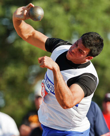"MacArthur's Jace Amaro throws the shot in the 5A boys' shot put during the State Track & Field championships at Mike Myers Stadium on May 14, 2011. Amaro threw 61' 10"" to take second place in the event. MARVIN PFEIFFER/mpfeiffer@express-news.net Photo: MARVIN PFEIFFER, Express-News / Express-News 2011"