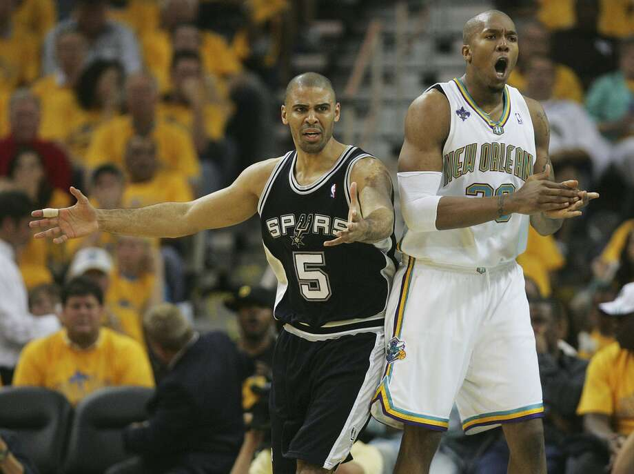 Ime Udoka reacts after being called for a foul on David West's shot in the second quarter of game five of their Western Conference semifinals series Tuesday, May 13, 2008 at New Orleans Arena. (BAHRAM MARK SOBHANI / SAN ANTONIO EXPRESS NEWS)