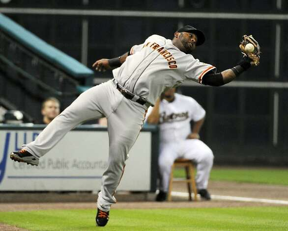 San Francisco Giants third baseman Pablo Sandoval drops the ball on a Houston Astros' Jason Castro foul pop up in the first inning of a baseball game Tuesday, Aug. 28, 2012, in Houston. Giants shortstop Brandon Crawford ran in to make the catch before the ball hit the ground for the out. (AP Photo/Pat Sullivan) Photo: Pat Sullivan, Associated Press