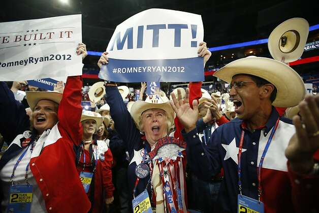 Texas delegates to the Republican National Convention in Tampa, Fla., cheer as Mitt Romney wins nomination as the party's candidate to try to unseat President Obama. Photo: Jae C. Hong, Associated Press