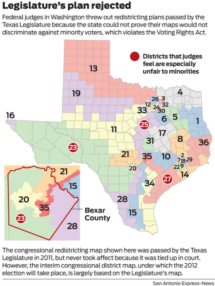 Federal judges in Washington threw out redistricting plans passed by the Texas Legislature because the state could not prove their maps would not discriminate against minority voters, which violates the Voting Rights Act. Photo: Mike Fisher