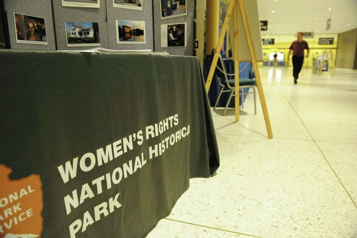 An informational table on the Women's Rights National Historical Park is seen here in the concourse level of the Empire State Plaza during the Path Through History Conference on Tuesday, Aug. 28, 2012 in Albany, NY. (Paul Buckowski / Times Union)