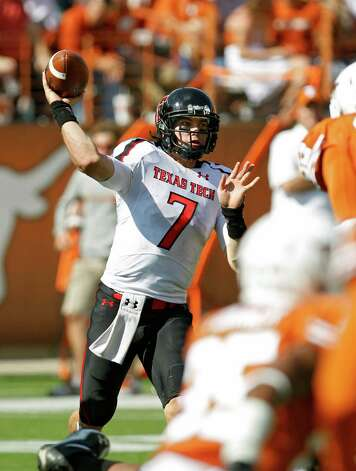 Quarterback Seth Doege of Texas Tech throws against Texas  in the fourth quarter on November 5, 2011 at Darrell K. Royal-Texas Memorial Stadium in Austin. Texas beat Texas Tech 52-20. (Photo by Erich Schlegel/Getty Images) Photo: Erich Schlegel, Associated Press / 2011 Getty Images