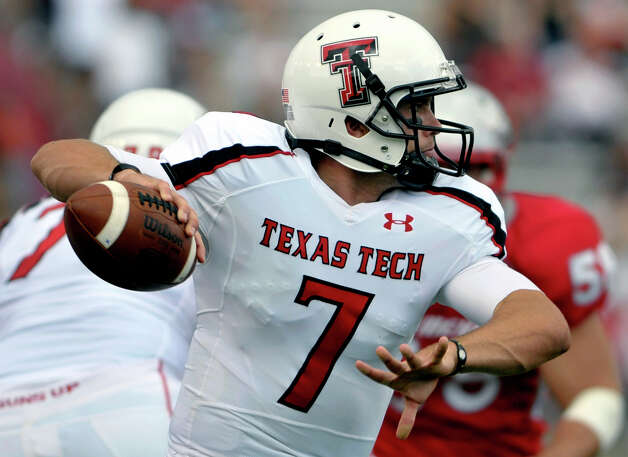 Texas Tech quarterback Seth Doege winds up for yet another pass against New Mexico Saturday, Sept. 17, 2011, in Albuquerque, N.M. The game was delayed twice due to lightning. Texas Tech defeated New Mexico 59-13. (AP Photo/Albuquerque Journal, Roberto E. Rosales) Photo: Roberto E. Rosales, Associated Press / Albuquerque Journal
