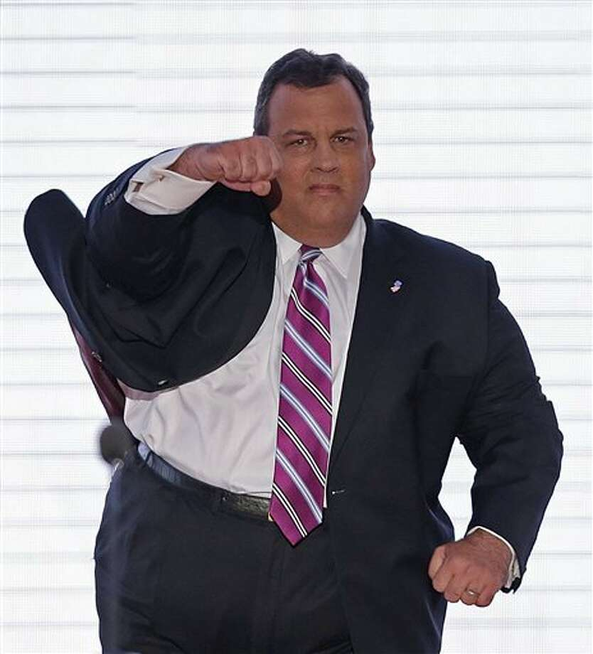 New Jersey Governor Chris Christie walks onto the stage at the Republican National Convention in Tampa, Fla. on Tuesday, Aug. 28, 2012.  (AP J. Scott Applewhite) (AP)