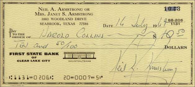 Armstrong wrote this check to a NASA engineer on Apollo 11's launch day so he wouldn't be in debt as he went into space, autograph expert Anthony Pizzitola says. It sold for $27,000 three years ago.