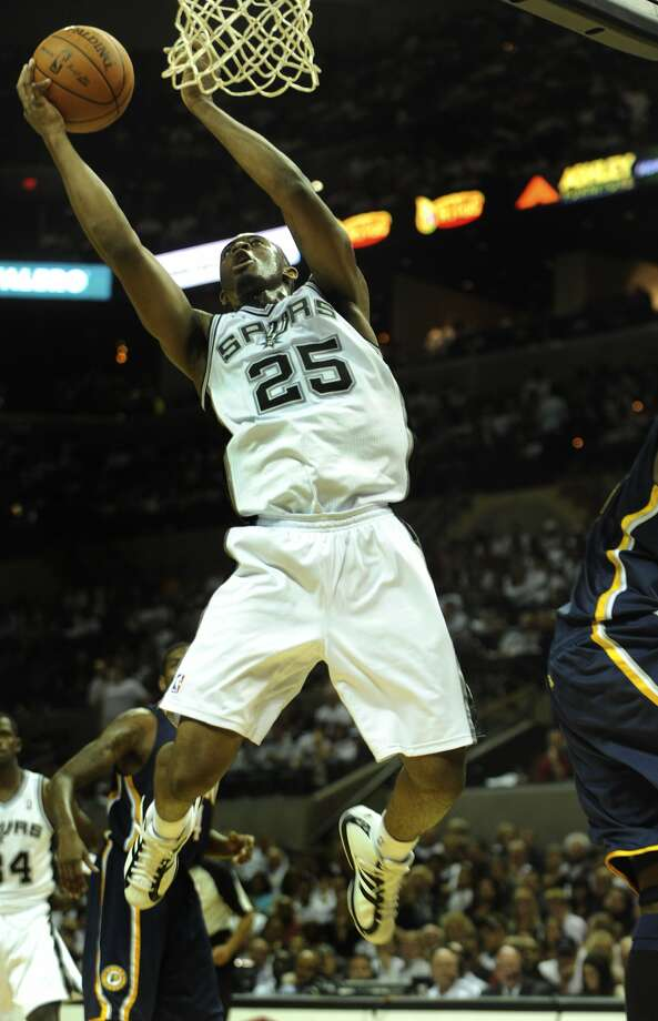 James Anderson of the San Antonio Spurs scores against the Indiana Pacers during second-half NBA action in the AT&T Center on Wednesday, Oct. 27, 2010. Anderson was the Spurs' first-round draft choice. BILLY CALZADA / gcalzada@express-news.net
