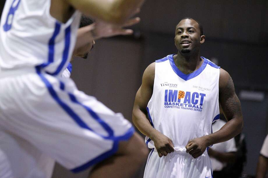 James Anderson warms up prior to an Impact basketball game Wednesday, Sept. 14, 2011, in Las Vegas. (Photo by Isaac Brekken for the Express-News) (SPECIAL TO THE EXPRESS-NEWS)