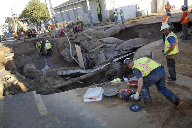 Aging infrastructure could cause S.F. more problems like this on Cora Street. Photo: Carlos Avila Gonzalez, The Chronicle