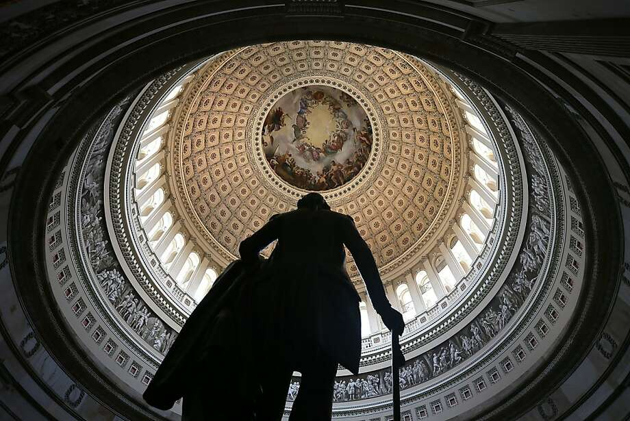 A statue of George Washington stands in the Rotunda of the U.S. Capitol August 28, 2012 on Capitol Hill in Washington, DC. It has been reported that the dome of the Capitol has 1,300 known cracks and breaks leaking water to the interior of the Rotunda and needs restorations. The Senate Appropriations Committee has approved $61 million before the August recess to repair the structure. On Monday, Committee on Rules and Administration chairman Sen. Charles Schumer (D-NY) called on Speaker of the House Rep. John Boehner (R-OH) to support the repairs. Photo: Alex Wong, Getty Images