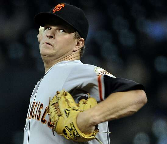 San Francisco Giants' Matt Cain delivers a pitch against the Houston Astros in the first inning of a baseball game Tuesday, Aug. 28, 2012, in Houston. (AP Photo/Pat Sullivan) Photo: Pat Sullivan, Associated Press