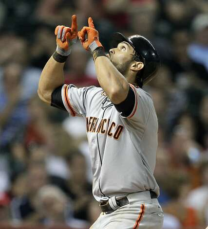 HOUSTON, TX. - AUGUST 28: Angel Pagan #16 of the San Francisco Giants hits a home run in the fifth inning against the Houston Astros at Minute Maid Park on August 28, 2012 in Houston, Texas. (Photo by Bob Levey/Getty Images) Photo: Bob Levey, Getty Images