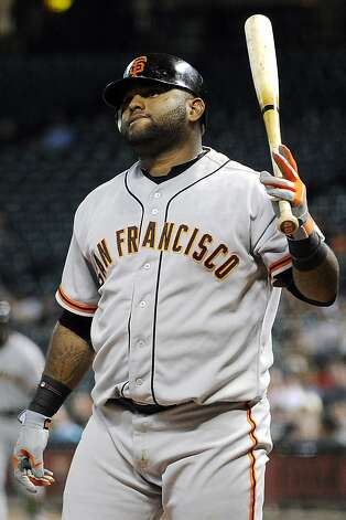 San Francisco Giants' Pablo Sandoval reacts to striking out against the Houston Astros in the third inning of a baseball game, Tuesday, Aug. 28, 2012, in Houston. (AP Photo/Pat Sullivan) Photo: Pat Sullivan, Associated Press