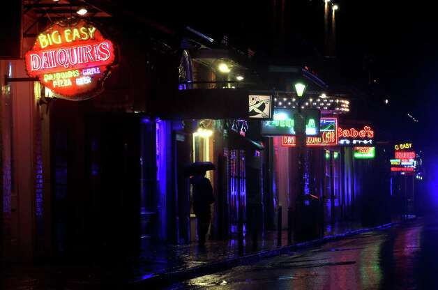 A deserted Bourbon Street in the French Quarter is shown as Hurricane Isaac makes landfall Tuesday, Aug. 28, 2012, in New Orleans. Hurricane Isaac made landfall south of New Orleans Tuesday night. Photo: David J. Phillip