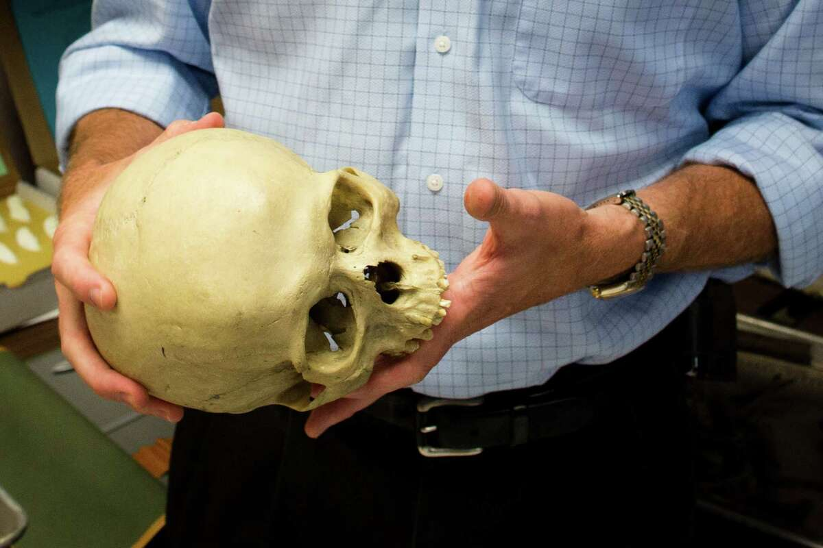 Bradley Adams, Ph.D., Director of Forensic Anthropology at the City of New York Office of Chief Medical Examiner handles anatomical specimens in a laboratory, Tuesday, Aug. 14, 2012, in New York. The office is undertaking an ambitious effort to identify the nameless dead in the cityÃ'Â's potterÃ'Â's field, seeking to capitalize on the expertise that it gained over the last decade identifying remains from the World Trade Center attack.