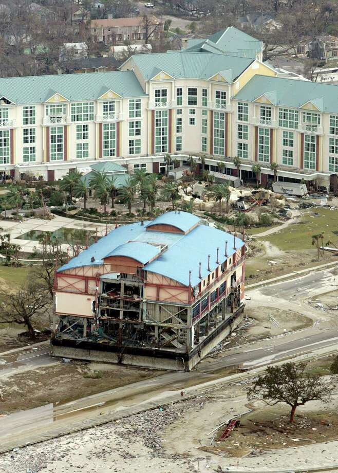 A casino barge damaged by Hurricane Katrina sits on the road Wednesday, Aug. 31, 2005, in Gulfport, Miss. Photo: DAVID J. PHILLIP, AP / AP