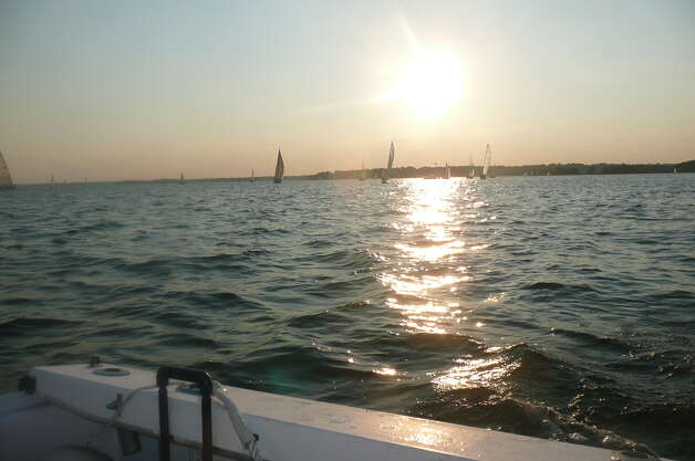 The Wednesday Night Twilight Series featured races between Indian Harbor Yacht Club and Old Greenwich Yacht Club off Greenwich Harbor on August 22, 2012. Photo: Anne W. Semmes