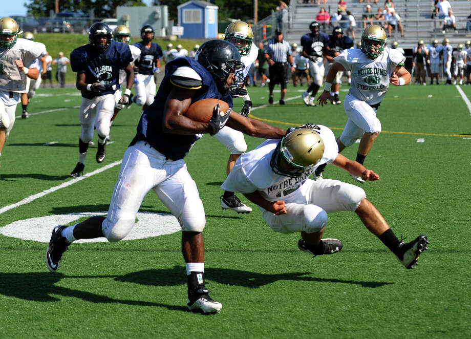 Action from Ansonia High School football scrimage against Notre Dame of West Haven High School in West Haven, Conn. on Tueday August 28, 2012. Photo: Christian Abraham / Connecticut Post