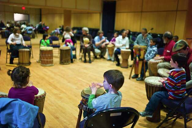 The NMS Open House performances include a drum circle for adults and children. Photo: Contributed Photo / Connecticut Post Contributed