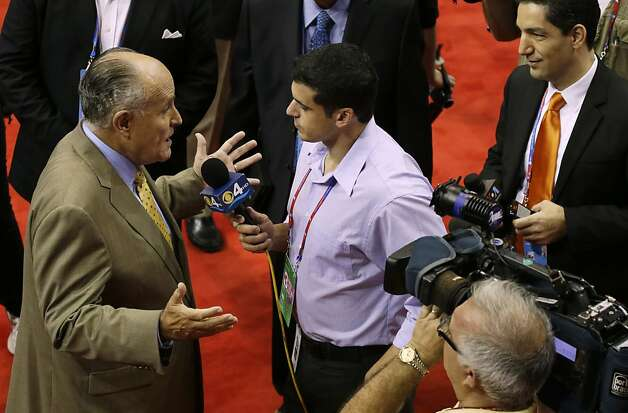 Former New York mayor Rudy Giuliani is interviewed on the convention floor before the Republican National Convention in Tampa, Fla., on Wednesday, Aug. 29, 2012. Photo: Lynne Sladky, Associated Press