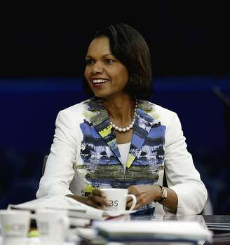 Former Secretary of State Condoleezza Rice sits down for a television interview on the floor of the Republican National Convention in Tampa, Fla., Wednesday, Aug. 29, 2012. Photo: David Goldman, Associated Press