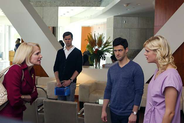 "THE NEW NORMAL -- ""Pilot"" -- Pictured: (l-r) Ellen Barkin as Nana, Andrew Rannells as Bryan, Justin Bartha as David, Georgia King as Goldie. Photo: Trae Patton, NBC"