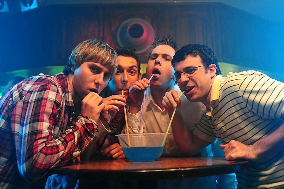 "From left: James Buckley, Blake Harrison, Joe Thomas and Simon Bird in ""The Inbetweeners Movie,"" a big hit in Britain last year. Photo: Outnow.ch"