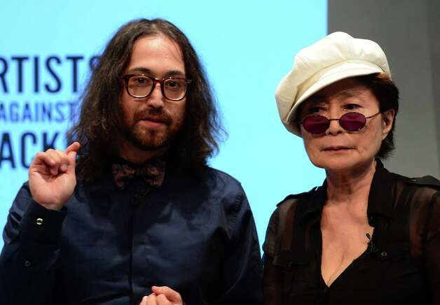 Artist Yoko Ono and her son Sean Lennon attend the launch of Artists Against Fracking, an activist partnership project opposed to hydraulic fracking, at a press conference in New York, August 29, 2012. Artists Against Fracking is a new coalition of artists, musicians, filmmakers and public figures opposed to hydraulic fracking, which includes 146 members including Lady Gaga, Paul McCartney, Salman Rushdie, Ringo Starr, David Bryne, Alec Baldwin, Marina Abramovic, Kronos Quartet, Cindy Sherman, MGMT, Wilco, Bonnie Raitt, Liv Tyler, Mario Batali, Roberta Flack, Mark Ruffalo, Uma Thurman, Joseph Gordon-Levitt and many others.  AFP PHOTO/Emmanuel DunandEMMANUEL DUNAND/AFP/GettyImages Photo: EMMANUEL DUNAND, AFP/Getty Images / AFP