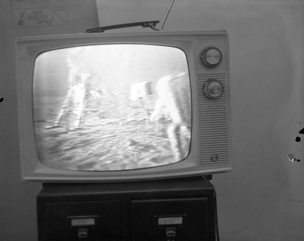 A photograph of a television taken by a Chronicle photographer during the 1969 Apollo 11 moon landing.