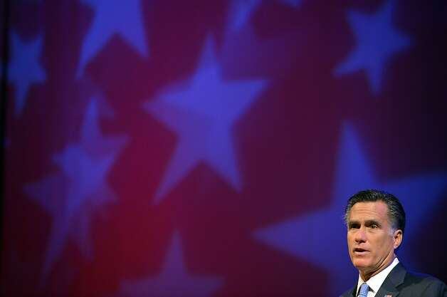 US Republican presidential candidate Mitt Romney speaks at the American Legion 94th national convention in Indianapois, Indiana, on August 29, 2012. Romney lies neck-and-neck with Obama in national polls 10 weeks before an election that should be his for the taking, given the sour economy and an unemployment rate that is lingering stubbornly above eight percent. AFP PHOTO/Jewel SamadJEWEL SAMAD/AFP/GettyImages Photo: Jewel Samad, AFP/Getty Images