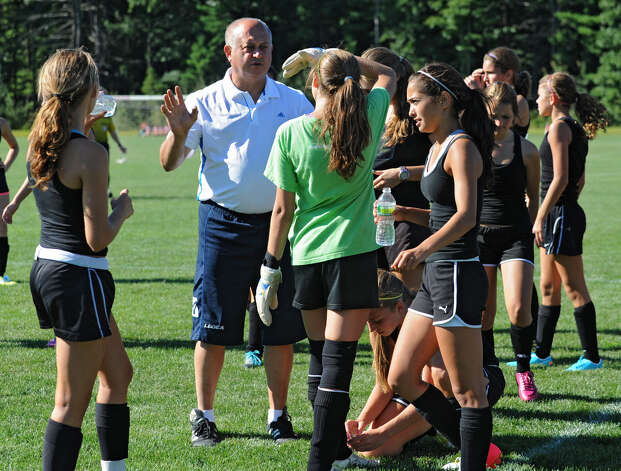 Schalmont girls soccer coach Angelo Caschera talks to goalie Taylor Gould during a scrimmage against Albany Academy at Gavin Park on Wednesday, Aug. 29, 2012 in Saratoga Springs, N.Y. (Lori Van Buren / Times Union) Photo: Lori Van Buren