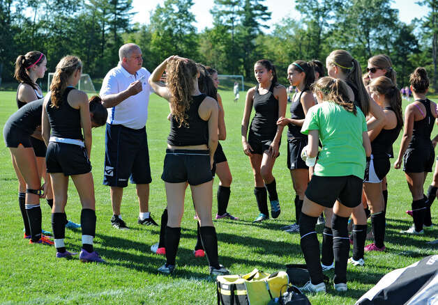 Schalmont girls soccer coach Angelo Caschera talks to his team during a scrimmage against Albany Academy at Gavin Park on Wednesday, Aug. 29, 2012 in Saratoga Springs, N.Y. (Lori Van Buren / Times Union) Photo: Lori Van Buren