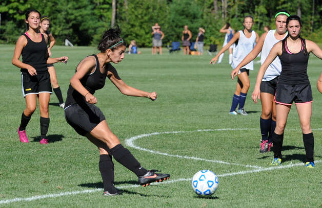 Schalmont soccer player Rachael Gac kicks the  ball during a scrimmage against Albany Academy at Gavin Park on Wednesday, Aug. 29, 2012 in Saratoga Springs, N.Y. (Lori Van Buren / Times Union) Photo: Lori Van Buren