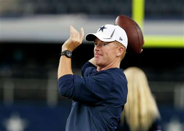 Dallas Cowboys head coach Jason Garrett before a preseason NFL football game against the Miami Dolphins Wednesday, Aug. 29, 2012, in Arlington, Texas. (AP Photo/Sharon Ellman) Photo: Sharon Ellman, Associated Press / FR170032 AP