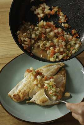 Petrale Sole With Pear Salsa as seen in San Francisco, California on Wednesday, August 8, 2012. Food styled by Lynne Char Bennett.