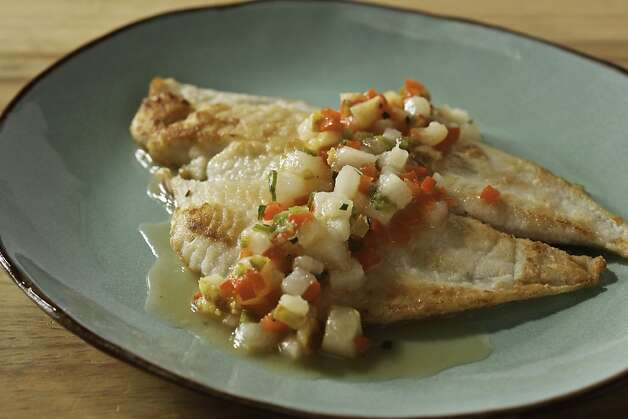 Petrale Sole with Pear Salsa as seen in San Francisco, California on Wednesday, August 8, 2012. Food styled by Lynne Char Bennett. Photo: Craig Lee, Special To The Chronicle