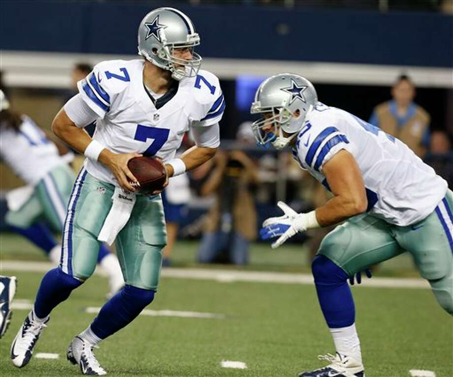 Dallas Cowboys quarterback Stephen McGee (7) looks to hand the ball off as running back Shaun Chapas (45) runs by during the first half of a preseason NFL football game against the Miami Dolphins, Wednesday, Aug. 29, 2012, in Arlington, Texas. (AP Photo/Sharon Ellman) Photo: Sharon Ellman, Associated Press / FR170032 AP