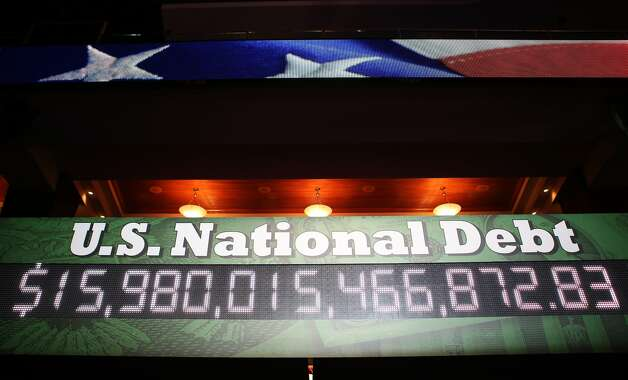 TAMPA, FL - AUGUST 29: An electronic display shows the U.S. National Debt during the third day of the Republican National Convention at the Tampa Bay Times Forum on August 29, 2012 in Tampa, Florida. Former Massachusetts Gov. Former Massachusetts Gov. Mitt Romney was nominated as the Republican presidential candidate during the RNC, which is scheduled to conclude August 30. (Chip Somodevilla/Getty Images) (Chip Somodevilla / Getty Images)