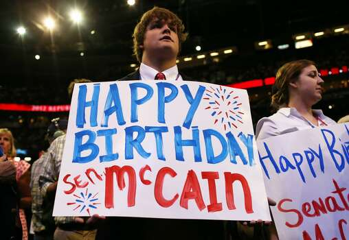 TAMPA, FL - AUGUST 29: People hold signs wishing U.S. Sen. John McCain (R-AZ) a Happy Birthday as he speaks during the third day of the Republican National Convention at the Tampa Bay Times Forum on August 29, 2012 in Tampa, Florida. Former Massachusetts Gov. Mitt Romney was nominated as the Republican presidential candidate during the RNC, which is scheduled to conclude August 30. (Spencer Platt/Getty Images) (Spencer Platt / Getty Images)