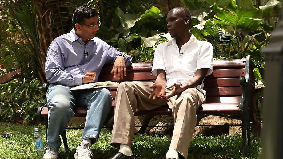 "Dinesh D'Souza (left) with the president's half-brother George Obama in ""2016: Obama's America,"" which is based on D'Souza's book. Photo: Rocky Mountain Pictures"