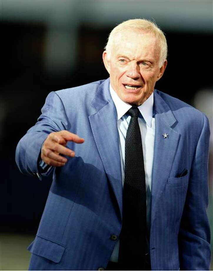 Dallas Cowboys team owner Jerry Jones before a preseason NFL football game against the Miami Dolphins Wednesday, Aug. 29, 2012, in Arlington, Texas. (AP Photo/Sharon Ellman) Photo: Sharon Ellman, Associated Press / FR170032 AP